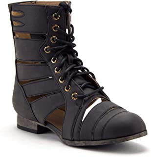 Women's Tosca-124A Tall Calf High Lace Up Cut Out Strappy Military Dress Boots