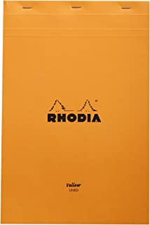 Rhodia Staplebound Notepads - Yellow lined 80 sheets - 8 1/4 x 12 1/2 in. - Orange cover