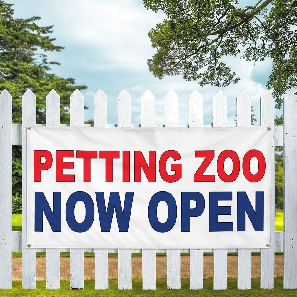Vinyl Banner Multiple Sizes Petting Zoo Now Open Red Blue Business Outdoor Weatherproof Industrial Yard Signs 6 Grommets 36x72Inches