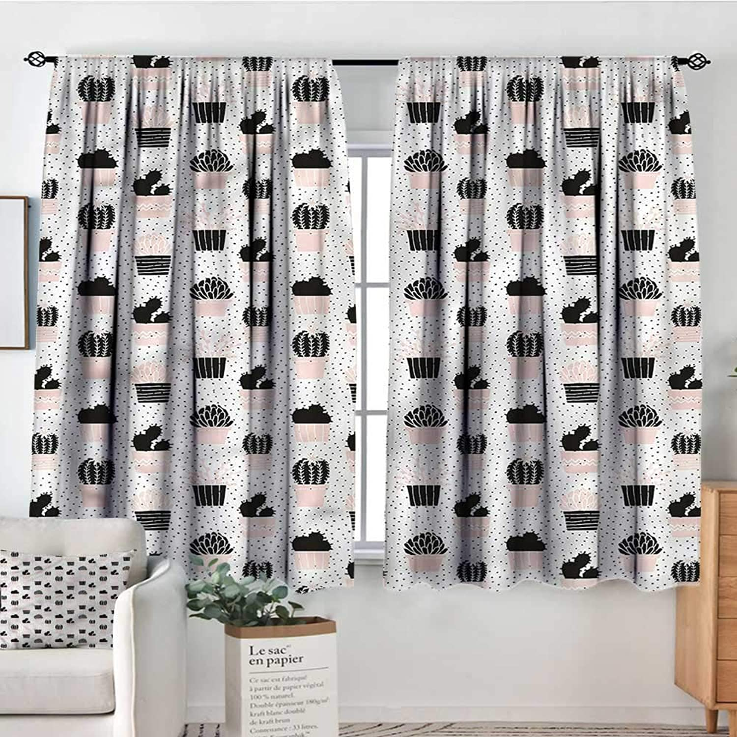 RenteriaDecor Cactus,Rod Pocket Indo Curtain Foliage Silhouettes 52 x63  Curtains for Kids' Room
