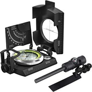 Proster IP65 Compass ArmyGreen with Flintstone Sighting Compass InclinometerProfessional Military Compass Multifunctional Fluorescent Tritium Compass Metal for Camping Hiking Geology Activities