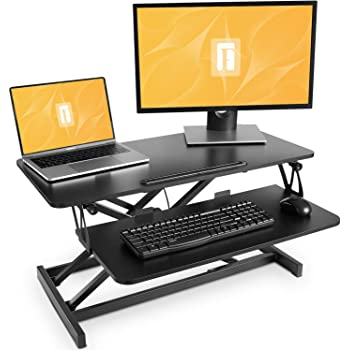 Standing Desk with Height Adjustable – FEZIBO 32 inches Stand Up Black Desk Converter, Ergonomic Tabletop Workstation Riser Black