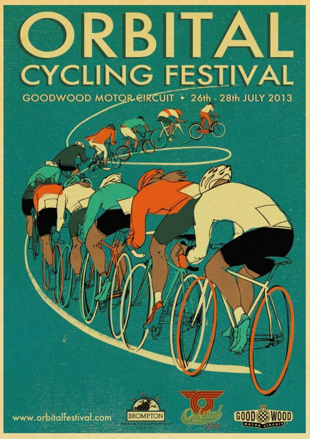 CYACC Conducción Deportiva Ciclismo Competencia Bicicleta película clásica Cartel de Papel Vintage Pintura de Pared Decoración del hogar 42X30 CM 30X21 CM @ 42X30_CM_E112: Amazon.es: Hogar
