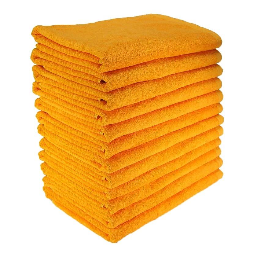 ハミングバード折楕円形バスタオル 業務用 800匁 約65×130cm レピア織 綿100% スレンカラー 耳かざりミシン(12枚販売) (ゴールド)