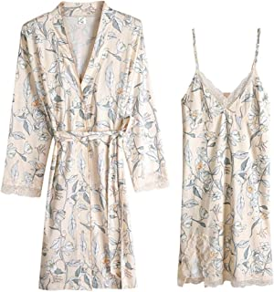 Women's Summer Pajamas, Pure Cotton Nightdress, Sexy lace Robe, Two-Piece Robe, Casual Home wear, Soft and Comfortable, Comfortable (Color : Multi-Colored, Size : XL)