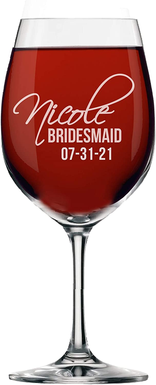 Personalized Wine Glasses Max 40% OFF for Bridesmaid Max 52% OFF a Engraved Monogrammed