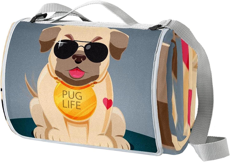 Large Picnic Blanket Grey Pug Direct store Oversized Animal Ranking TOP8 San Beach