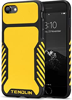 TENDLIN Compatible with iPhone SE 2020 Case/iPhone 8 Case/iPhone 7 Case Leather Texture TPU Hybrid Grip Case (Yellow)