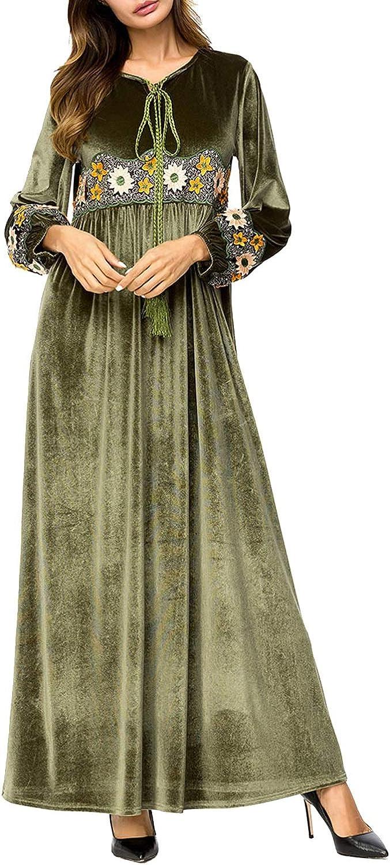 CTARCROW Women's Long Sleeve Velvet Embroidered Patchwork AnkleLength Dress Muslim Style,Green