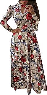 QUINTRA Women Fashion Long Sleeve Dress O-Neck Flower Print Personalized Dress Women's Empire Waist A-Line Chiffon Long Ev...