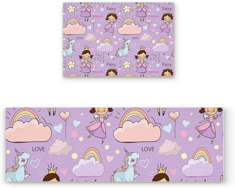 Aomike 2 Piece Non-Slip Kitchen Mat Rubber Backing Doormat Fairy Princess Unicorn and Raninbow Rain Runner Rug Set, Hallway Living Room Balcony Bathroom Carpet Sets (19.7  x 31.5 +19.7  x 63 )