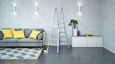 Escalera modelo Pratic de acero con estructura de acero pintado (blanco y azul). Medidas 4+4/4+5/5+5 (gr.4+5)