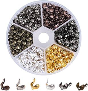 Pandahall 1Box/700pcs Mixed Color Iron Bead Tips Knot Covers Clamshells Terminators Cord Wire Crimp End Cap 0.3x0.15 Inch Nickel Free Hole: 1.5mm Paper Package