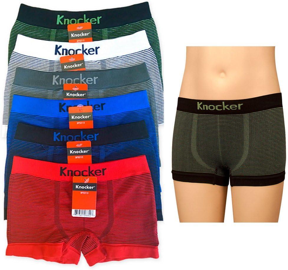 6 Knocker Boys Boxer Seamless Briefs Spandex Kids Shorts Soft Underwear Size L
