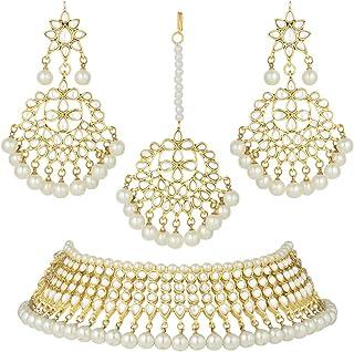 Aheli Wedding Wear Kundan collana girocollo con perline Maang Tikka gioielli indiani per donne e ragazze