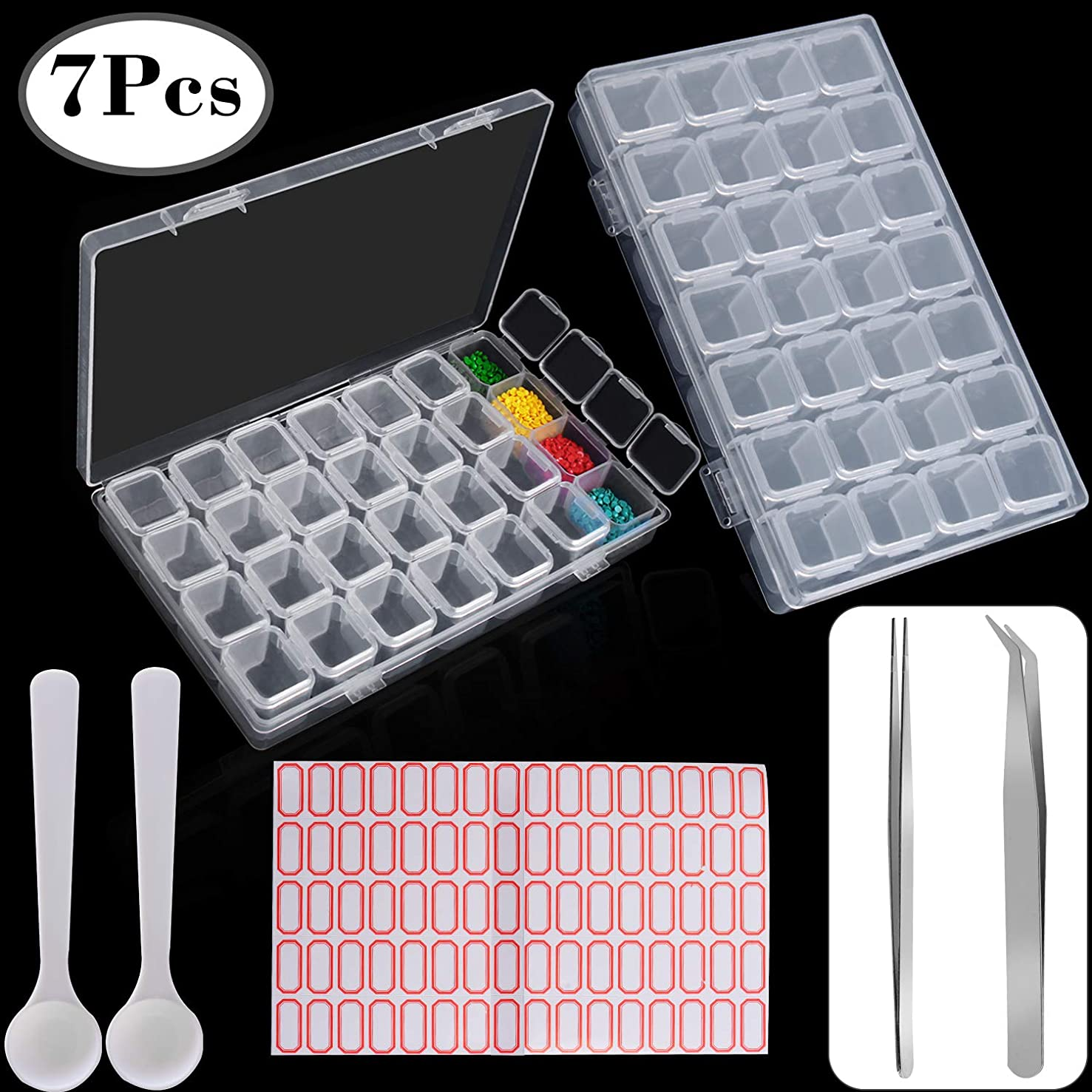 Outee 2 Pack 28 Grids Diamond Painting Box for Diamond Embroidery Storage 5D Diamond Painting Accessories Storage Box with 90 Pieces Craft Label Marker Sticker 2 Spoons