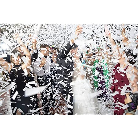 Battife White Confetti Wands 7Pack Tissue Paper Confetti Flick Flutter Sticks for Wedding Celebrations Anniversary Birthday Party White, 14 Inch