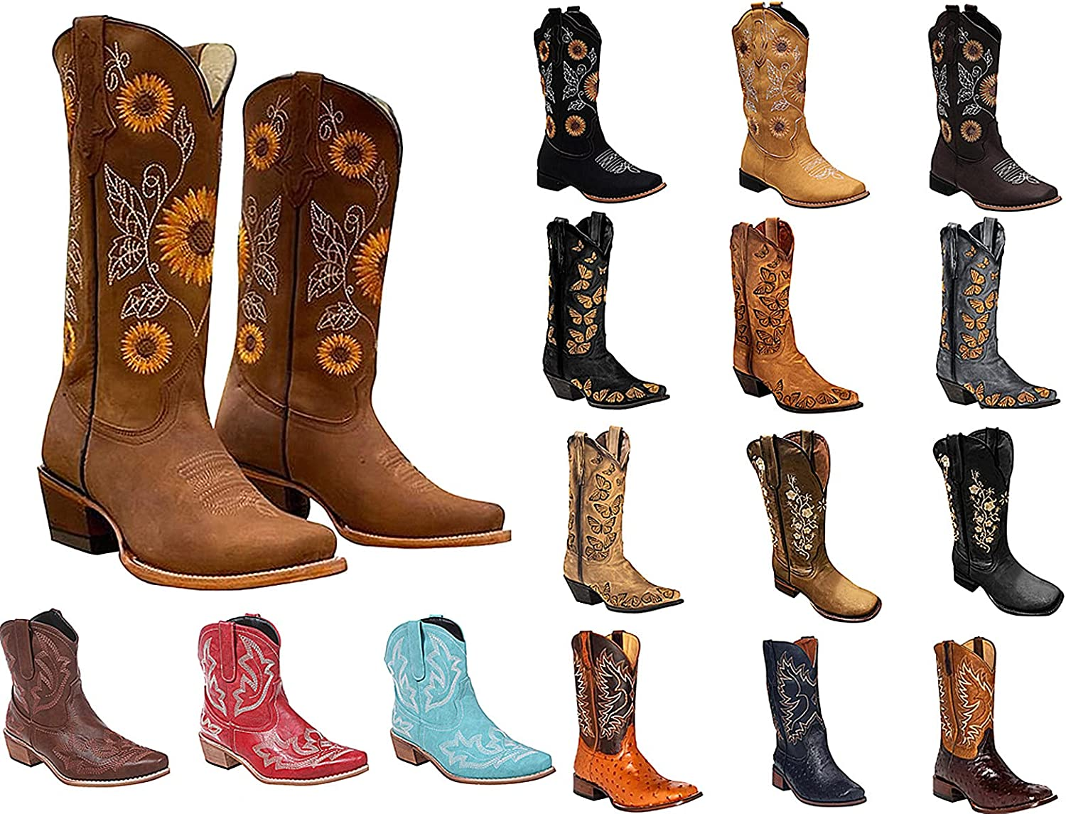 Womens Riley Western Boots Cowboy Boot Gaucho Boot Embroidery Zip Pointed Toe Chunky Stacked Mid-Calf Booties