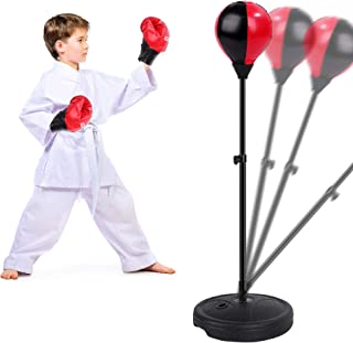 FiGoal Punching Bag for Kids Boxing Set Adjustable Stand with Strong Spring and Flexible Height and 1 Pair of Boxing Glove...