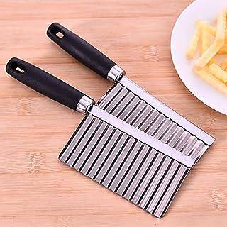 Xshuai Coupe-pommes de terre, ustensile à bord ondulé, ustensile de cuisine en acier inoxydable pour couper les légumes et...