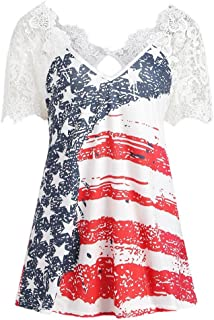 Han Shi Womens American Flag Print Blouse Lace Hollow Out Independence Day T Shirt Tank Top