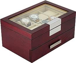 DecoreBay Executive Cherry Oak Wood 20 Slot Watch Box and Jewelry Box Storage (Darling)