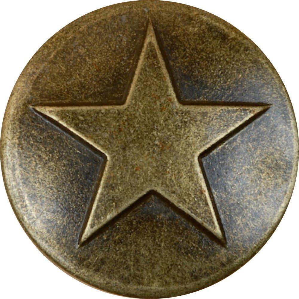 25 Antique Brass Small Star Upholstery Framing Tacks, Decorative Nails 5/8 Dia Long, Western Texas