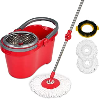 HAPINNEX Spin Mop Wringer Bucket Set - for Home Kitchen Floor Cleaning - Wet/Dry Usage on Hardwood & Tile - Upgraded Self-...