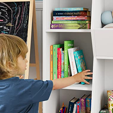 5 Cubby Kids Bookcase, Toy Organizers and Storage Bookshelf, Wide Toy Storage Cabinet for Playroom, Bedroom, Nursery, White