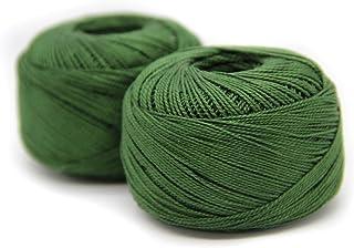 NTS Nähtechnik Häkelgarn aus 100% Baumwolle Baumwollgarn Baumwollfaden zum Sticken, Häkeln, Schmuck, Basteln dunkelgrün, 2