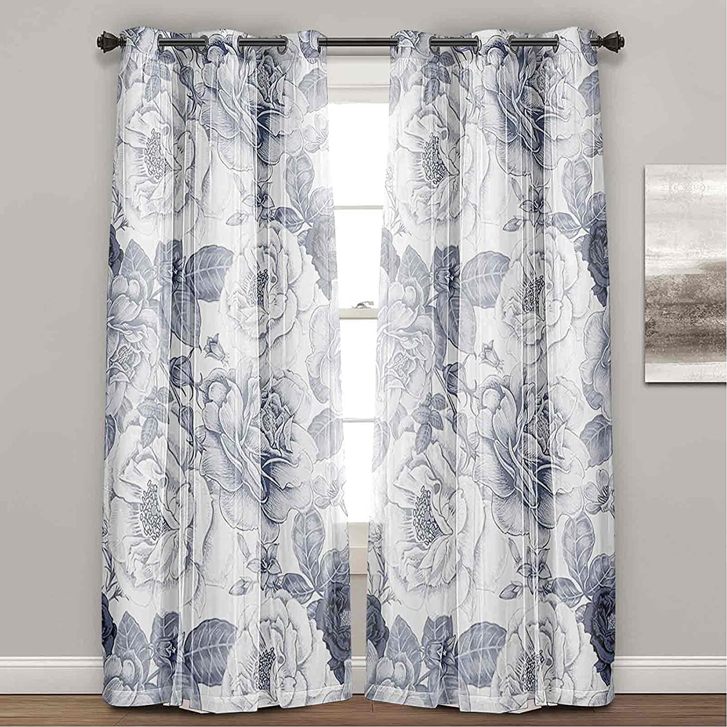 Light Blocking All items free shipping Curtains Garden Spring with Leaves Roses Buds Fl Outstanding