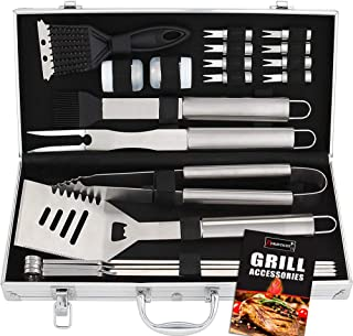 ROMANTICIST 20pc Stainless Steel BBQ Grill Tool Set - Perfect BBQ Gift for Men Women on Birthday Wedding - Complete Outdoor Barbecue Grilling Accessories Kit in Aluminum Storage Case