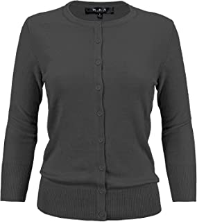 YEMAK Women's Crewneck Button Down Knit Cardigan Sweater Vintage Inspired CO079 (S-3X)