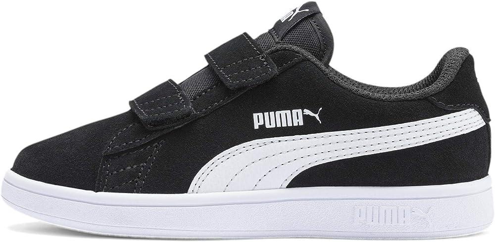 Puma smash v2 sd v ps, scarpe da ginnastica basse unisex-bambini,sneakers,in pelle scamosciata 365177