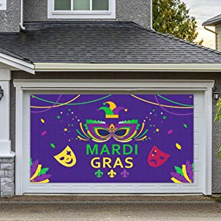 Dazonge Large Fabric Mardi Gras Banner for Party Decorations | 78''x45'' | Mardi Gras Party Accessory | Carnival Party Fav...