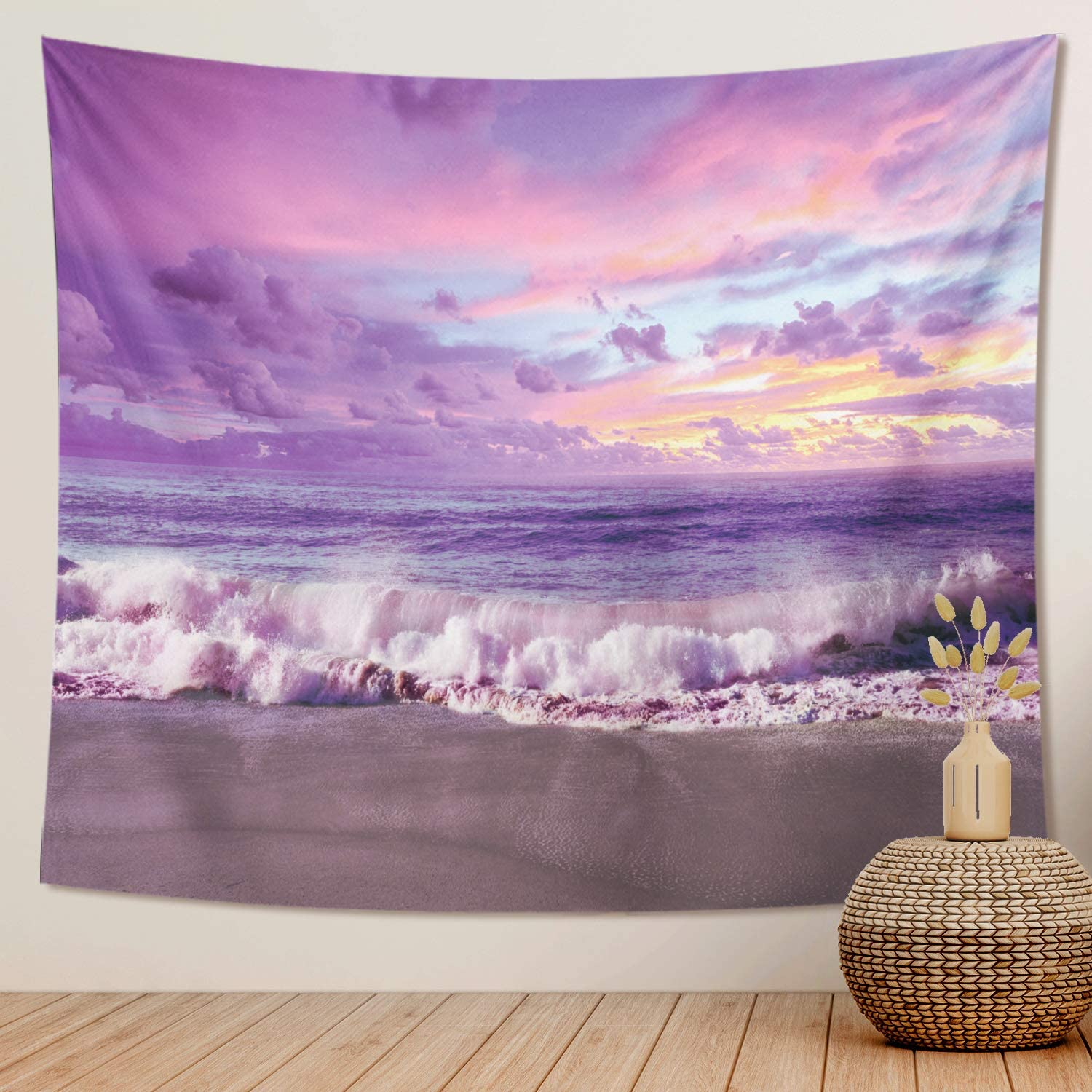 DESIHOM Purple Beach Tapestry Ocean Tapestry Landscape Tapestry Cloud Sunset Tapestry Scenery Hawaii Tapestry Nature Mens Tapestry Polyester for Bedroom Tapestry College Tapestry Living Room 59x51