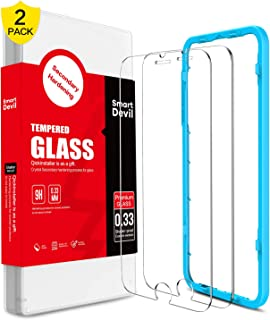 SMARTDEVIL 2 Pack Screen Protector Foils for iPhone 6 6s 7 8 Protective Tempered Glass for 4.7 Inch Screen with Installation Tool, 9H Hardness Support Shockproof, Anti-Scratch,High Definition