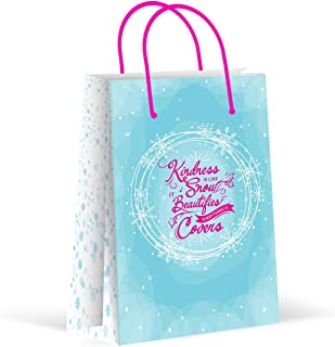 Premium Snow Winter Wonderland Party Bags, Snowflakes Party Favor Bags, New, Treat Bags, Gift Bags, Goody Bags, Party Favors, Party Supplies, Decorations, 12 Pack