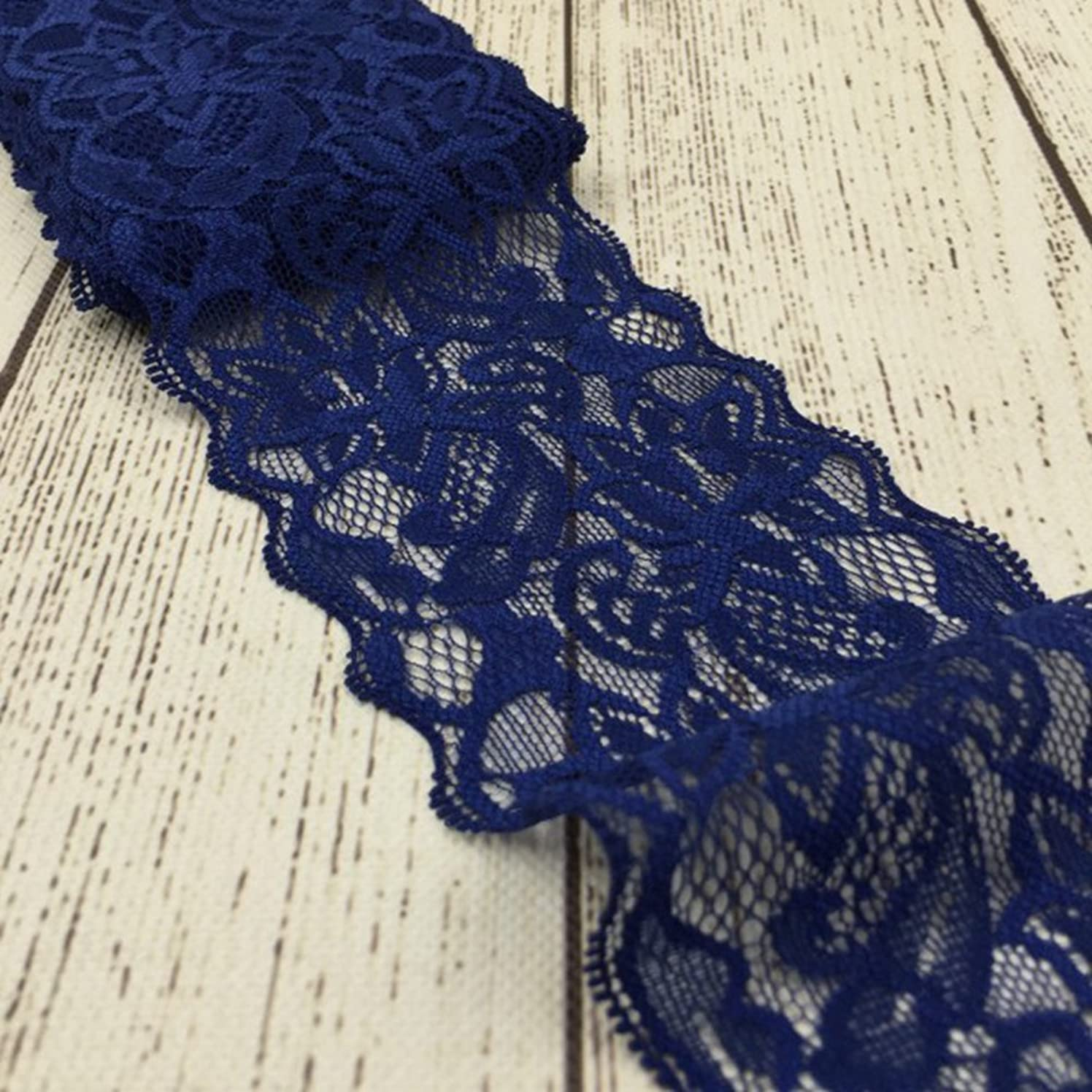Navy Blue Lace Trim, Tulle Lace Ribbon, Stretch Lace Fabric by The Yard for Sewing Baby Girls Hair Accessories (3.15 inch Wide, Navy Blue, 10 Yards)