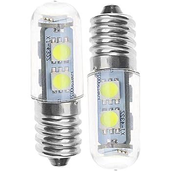 ENET 2 x E14 luz blanca fría 1 W 7 LED 220 V Mini bombilla de maíz foco gama de luz campana refrigerador lámpara: Amazon.es: Hogar