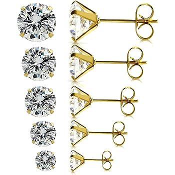 JewelrieShop Earrings for Women Studs Set Stainless Steel CZ Earing Hypoallergenic Multiple Piercing Ear Stud
