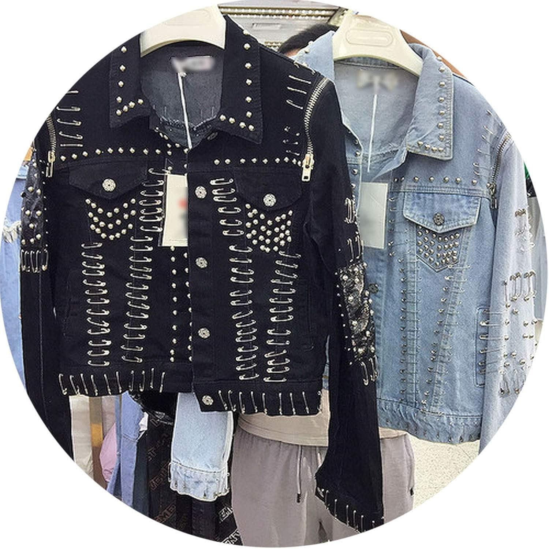 Spring Autumn Rivet Locomotive Jacket Retro Short Denim Jacket Casual Jeans Coat Outwear