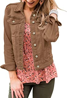 LookbookStore Women's Basic Long Sleeves Button Down Fitted Denim Jean Jackets