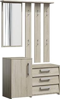 ADGO Paris Ensemble de meubles de couloir 3en1 avec armoire, miroir et cintre et armoire à chaussures, garde-robe compacte...