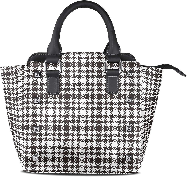 Leather Black Houndstooth Plaid Rivet Handbags Tote Bag Shoulder Satchel for Women Girls