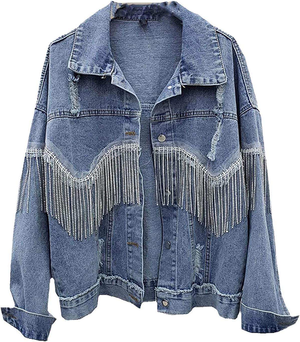 Women Vintage Frayed Diamonds Chain Tassel Denim Jacket Spring Fall Streetwear Jean Top