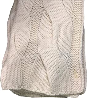 Womens Cable Knit Lambswool Blend Pony Logo Scarf