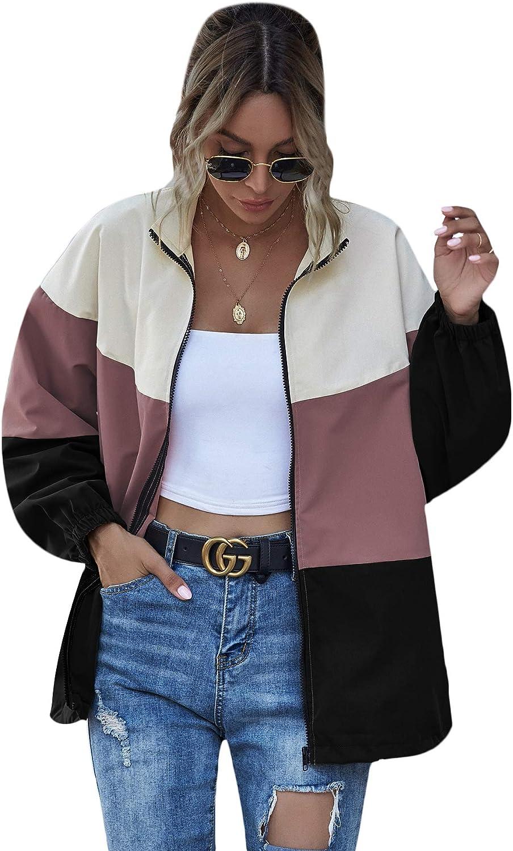Floerns Women's Colorblock Long Coat Sleeve Topics on TV Jacket Zipper Indianapolis Mall