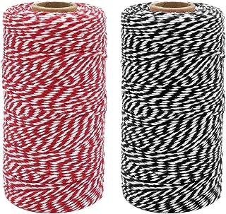 Tenn Well Bakers Twine, 2 Rolls 220yd Cotton Twine Spool Ribbon Twine Rope for Festive Decoration DIY Crafts Arts & Garden (600Feet/2Ply)