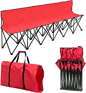 Giantex Portable Folding 6 Seats Chair Sideline Bench W/Seat Backs & Carry Bag Sports Team Camping